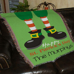 Happy St. Patrick's Day Personalized Tapestry Throw Blanket