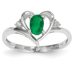 Emerald and Diamond Heart Ring in 14 Karat White Gold