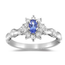 1/4 Ct. Diamond and Tanzanite Ring in 14K White Gold
