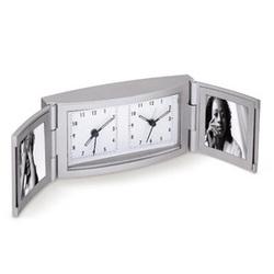 Dual Time Dual Photo Travel Alarm Clock