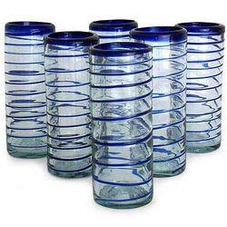 Cobalt Spiral Highball Glasses