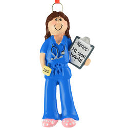 Brunette Female Nurse/Doctor Blue Scrubs Ornament