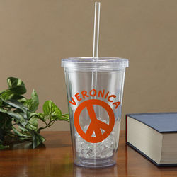 Personalized Acrylic Peace Sign Tumbler