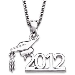 Sterling Silver 2012 Graduate Cap and Year Necklace