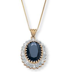 Oval-Cut Midnight Blue Sapphire and Diamond Accent Pendant