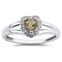 10K White Gold Heart-Shaped Smokey Quartz and Diamond Ring