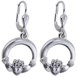Sterling Silver Claddagh Drop Earrings