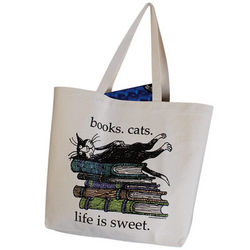 Life is Sweet Books and Cats Tote