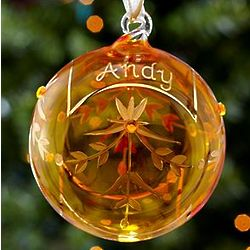 Personalized November Birthstone Glass Ornament