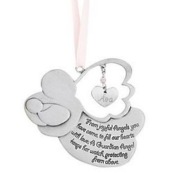 Girl's Personalized Guardian Angel Crib Medal