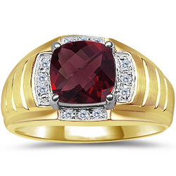 Men's Checkercut Garnet & Diamond Ring