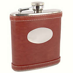Personalized 6 oz. Brown Leather Flask