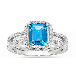 14k White Gold 0.40Ct Diamond Blue Topaz Fashion Ring