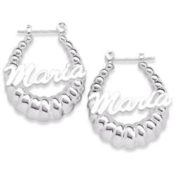 Personalized Sterling Silver Shrimp Script Name Hoop Earrings