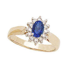 Princess Di Sapphire and Diamond Ring