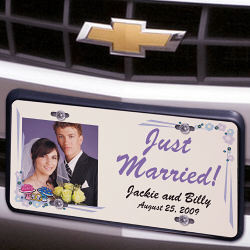 Just Married Photo License Plate