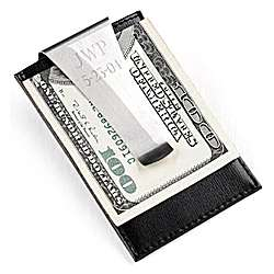 Leather and Stainless Steel Money Clip & Credit Card Holder