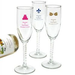Personalized Twisted Stem Flute Glass Favors