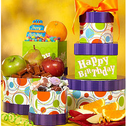 Happy Birthday Fresh Fruit and Sweets Tower