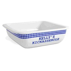 Personalized Blue Gingham Kickasserole Dish