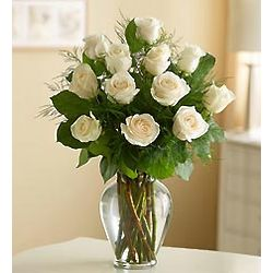 Dozen Rose Elegance Long Stem White Roses