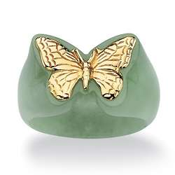 Green Jade 14K Gold Butterfly Ring
