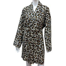 Women's Leopard Print Plush Bathrobe
