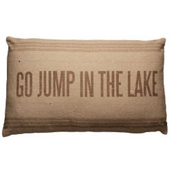 Vintage Jump in the Lake Sack Pillow