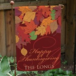 Personalized Happy Thanksgiving Fall Leaves Garden Flag