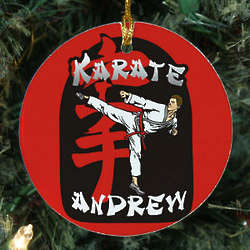 Personalized Ceramic Karate Ornament