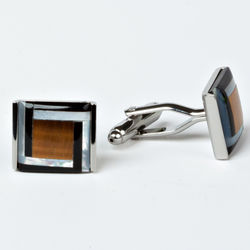 Black and Tan Rhodium Plated Cufflinks with Engraved Case