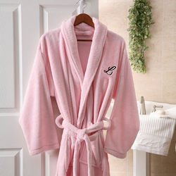 Embroidered Pink Micro Fleece Robe