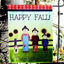 Personalized Scarecrow Family Garden Flag with Stake
