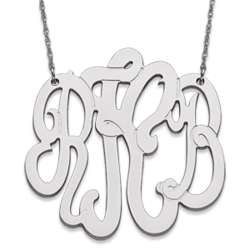 10K White Gold 3-Initial Extra Large Monogram Necklace