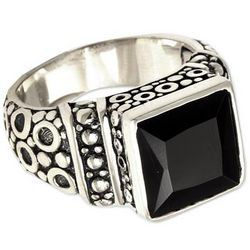 Midnight Shadow Men's Sterling Silver and Onyx Ring