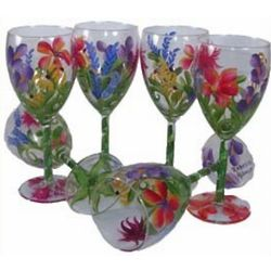 Joanne Hand Painted Wine Glasses