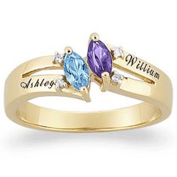 Gold Couples Marquise Birthstone Name Ring with Diamond Accent