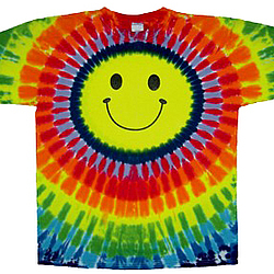 Smiley face rainbow tie dye t shirt for Order tie dye roses online