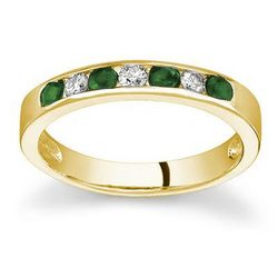 Yellow Gold Emerald and Diamond Stackable Channel Ring