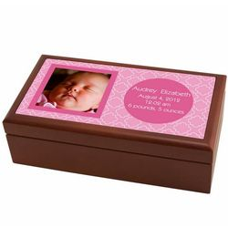 Personalized Photo Birth Record Box in Pink