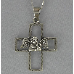 Angel on an Outline Cross Pendant