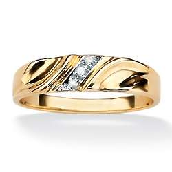 Men's Two-Tone Diagonal Diamond Accent Wedding Band