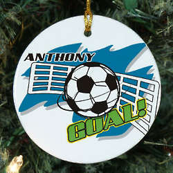 Personalized Ceramic Soccer Ornament