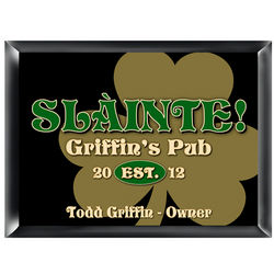 Personalized Gold Clover Pub and Bar Sign