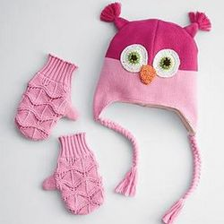 Owl Animal Hat and Mitten Set