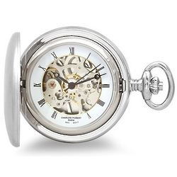 Satin Silver Mechanical Pocket Watch and Chain