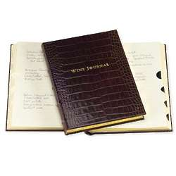 Brown Crocodile Embossed Leather Tabbed Wine Journal