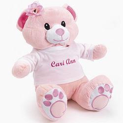 Personalized Tee Plush Pink Bear