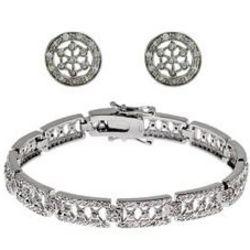 Sterling Silver CZ Celestial Bracelet and Earring Set