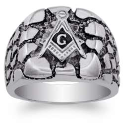Stainless Steel Men's Masonic Nugget Style Ring